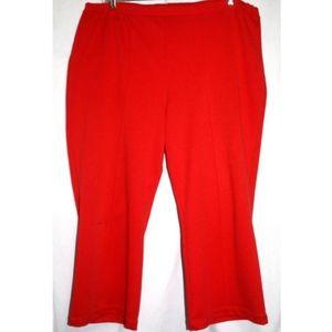 Womens Size 2X Red Stretch Elastic Waist Straight